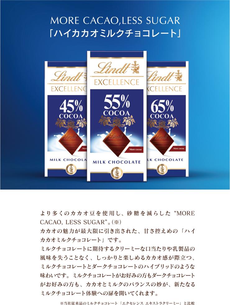 MORE CACAO,LESS SUGAR ハイカカオミルクチョコレート